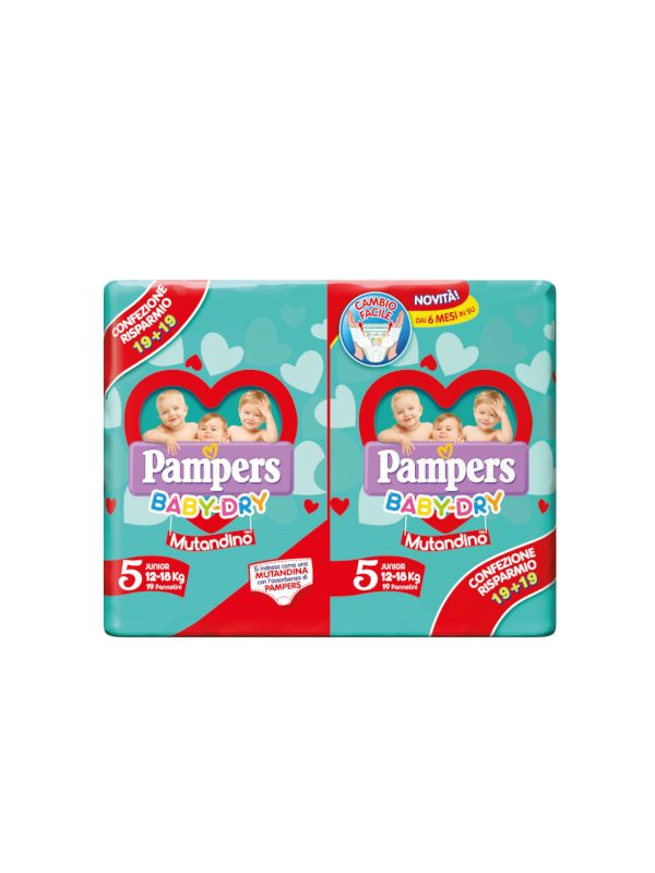 Pampers Baby Dry Mutandino Junior  Taglia 5 (12-18 Kg)- 38 pz - Pampers - Taglia 5 (11-25 kg)