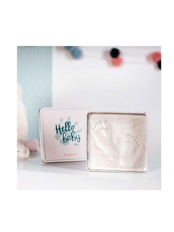 Cornice quadrata Box Square Essential in metallo con Kit Impronta mano e piede - BABY ART - Accessori cameretta