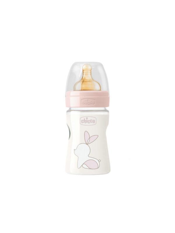 Chicco Caucciù Original Touch rosa  150 ml a flusso lento - bottiglia di plastica - CHICCO - Biberon e tettarelle