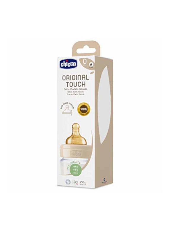 Chicco Caucciù Original Touch unisex neutro  240ml Flusso lento - bottiglia di vetro - CHICCO - Biberon e tettarelle