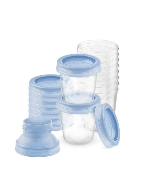 Philips Avent Set con 10 Vasetti da 180ml per la conservazione di latte e pappe e 2 adattatori - PHILIPS AVENT - Scaldabiberon e preparazione pappa