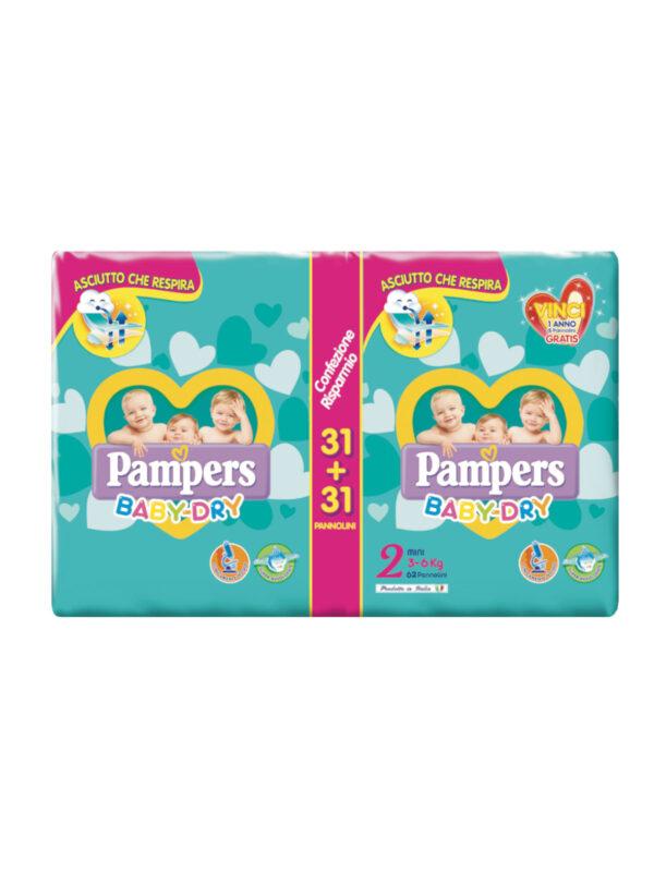 Pampers Baby Dry Mini Taglia 2 (3-6 kg) 62 pz - Pampers - Taglia 2 (3-6 kg)