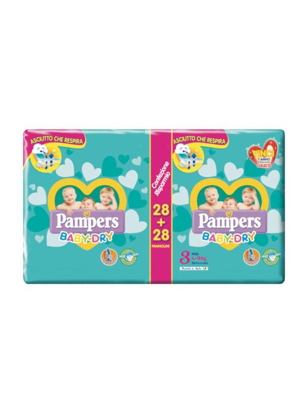 Pampers Baby Dry Midi Taglia 3 (4-9 kg) 56 pz - Pampers