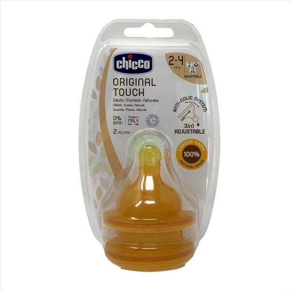 Chicco Caucciù Tettarella Original Touch 2+ caucciu 2pz flusso regolabile - CHICCO - Biberon e tettarelle