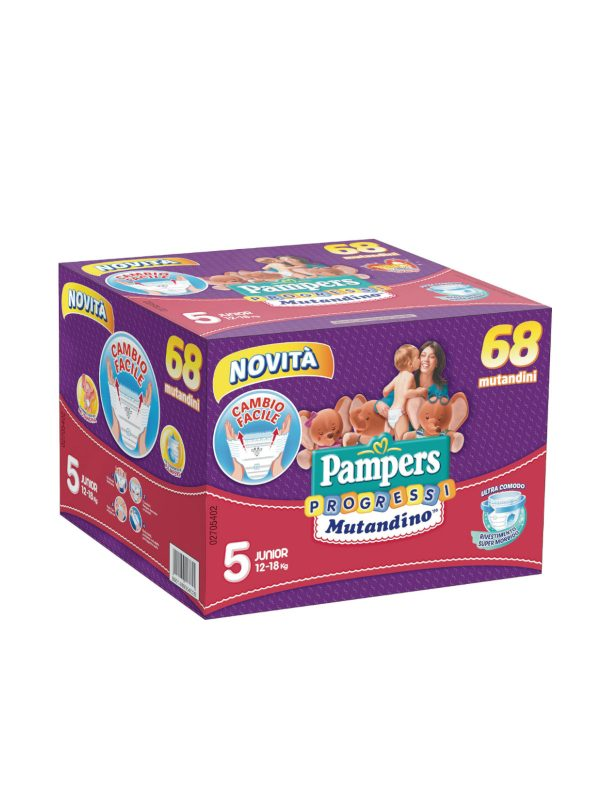 Pampers Quadri  Progressi  Mutandino Junior Taglia 5 (12-18 Kg) - 68 pz - Pampers