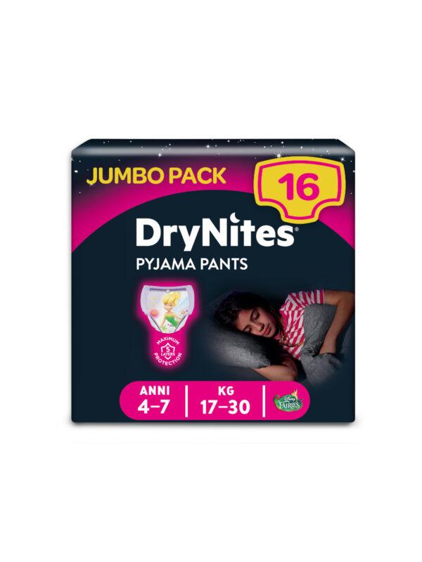 Huggies DryNites - Mutandine Assorbenti per la Notte Bambina 4-7 anni (17-30 kg) - 16 pz - HUGGIES - Taglia 6 (15-30 Kg)