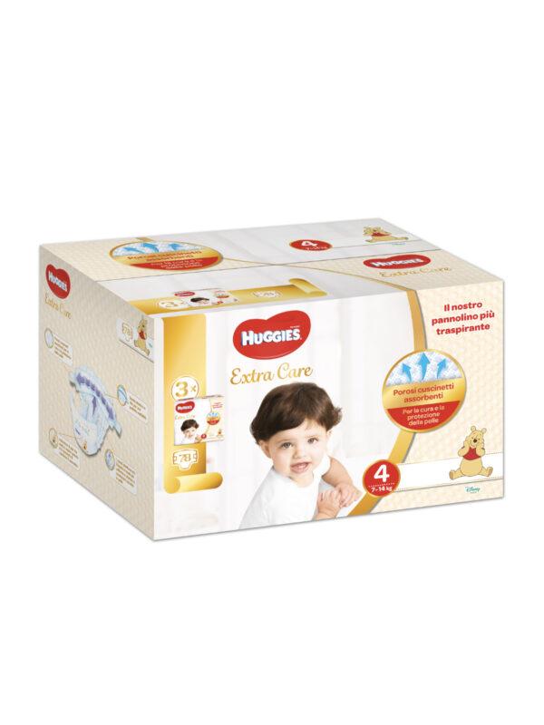 Huggies Extra Care Trio Pack  Taglia 4 (7-14 kg) - 78 pz - HUGGIES - Taglia 4 (7-18 kg)