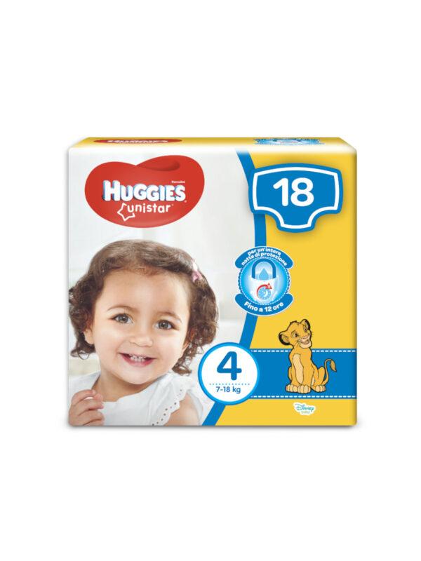 Huggies Unistar Taglia 4 (7-18 kg) - 18 pz - HUGGIES - Taglia 4 (7-18 kg)