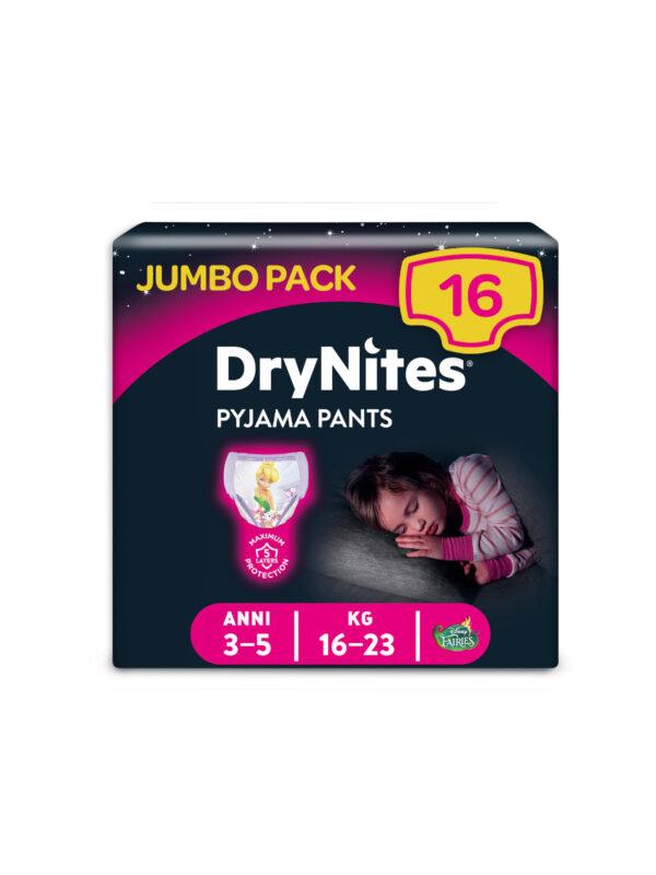 Huggies DryNites Mutandine Assorbenti per la Notte Bambina 3-5 anni (16-23 Kg) - 16 pz - HUGGIES - Taglia 6 (15-30 Kg)