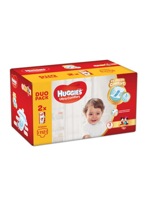 Huggies Ultra Comfort Duo Pack Taglia 3 (4-9 Kg) - 112 pz - HUGGIES - Taglia 3 (4-9 kg)