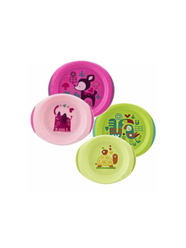 Set piatti 12 m+  Rosa/Verde <strong>Colori Assortiti</strong> - CHICCO - Piatti e Set Pappa