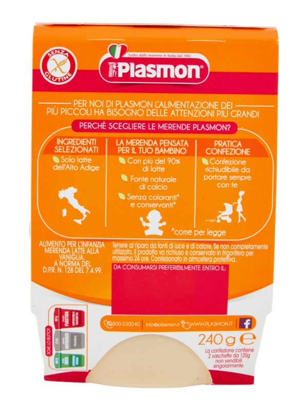 Plasmon - Merende Latte Vaniglia - 2x120g - Plasmon - Yogurt e budini per bambini