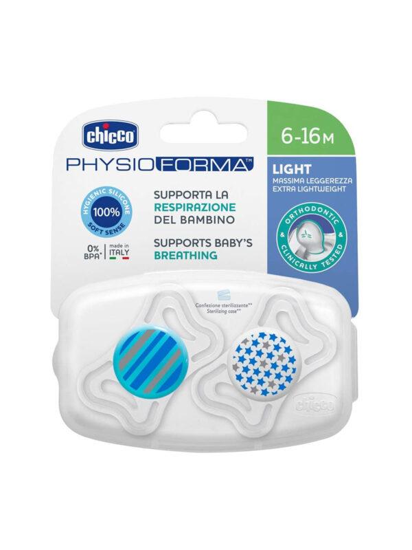 Succhietto Physio Light Boy silicone 6-16 mesi 2 pz <strong>Colori assortiti</strong> - CHICCO - Ciucci