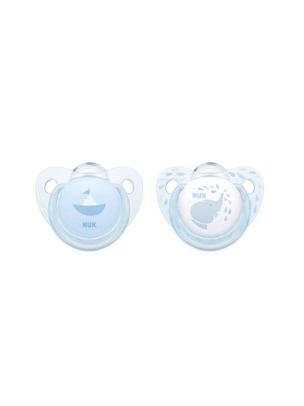 Succhietto Rose&Blue blu silicone 0-6 m 2 pz - NUK - Ciucci