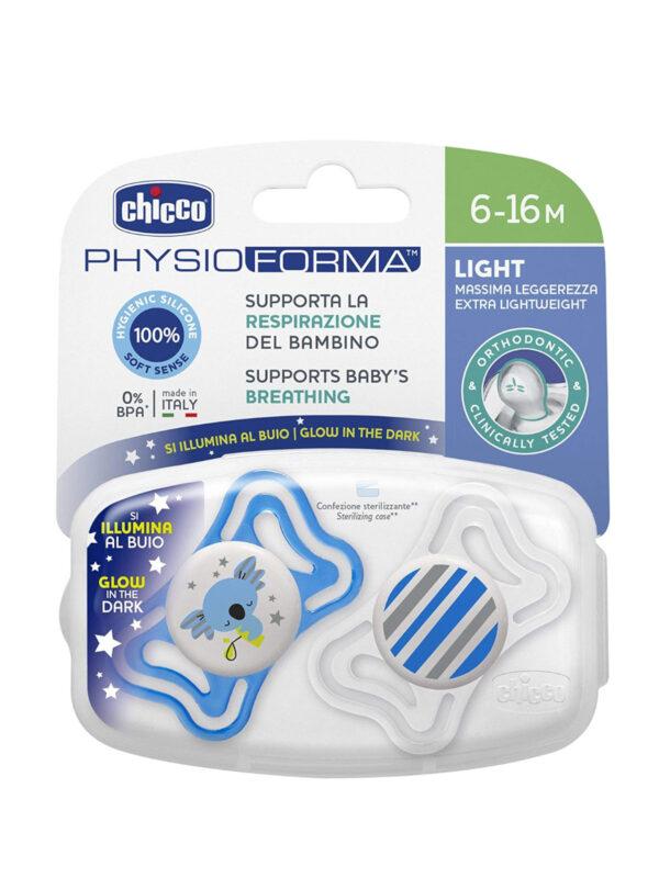 Succhietto Physio Light Lumi silicone 6-16 mesi 2 pz <strong>Colori assortiti</strong> - CHICCO - Ciucci