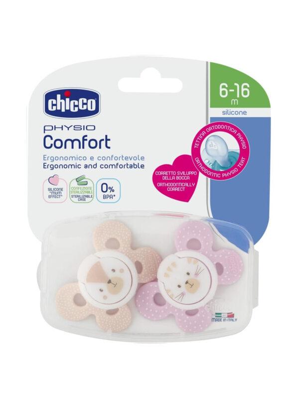Succhietto Comfort Girl 6-16 mesi 2 pz <strong>Colori assortiti</strong> - CHICCO - Ciucci