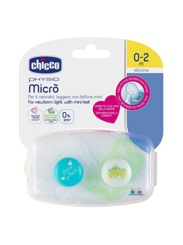 Succhietto Physio micro Boy silicone  0-2 mesi 2 pz  <strong>Colori assortiti</strong> - CHICCO - Ciucci