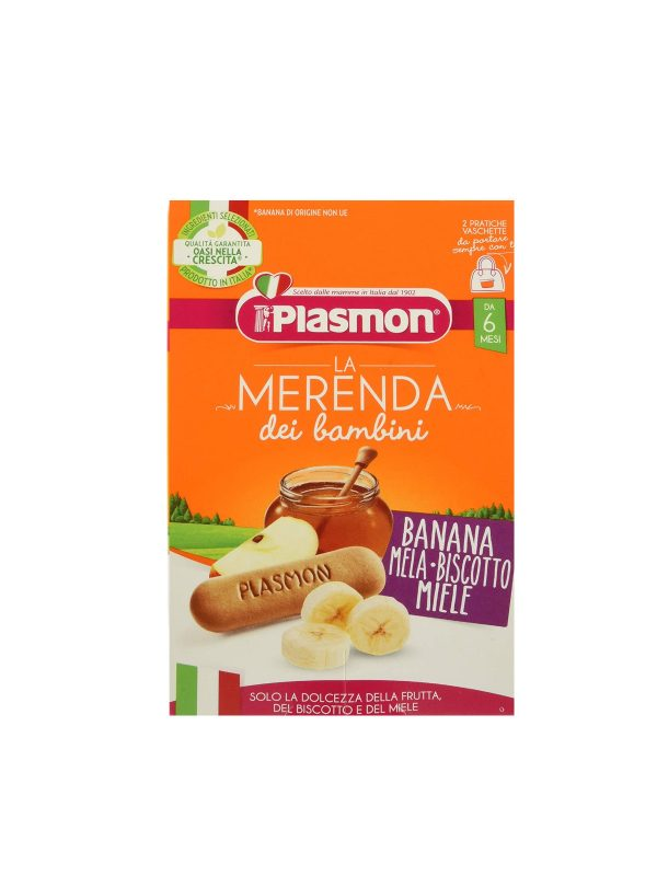 Plasmon - Merende Banana - Mela - Biscotto - Miele - 2x120g - Plasmon - Yogurt e budini per bambini