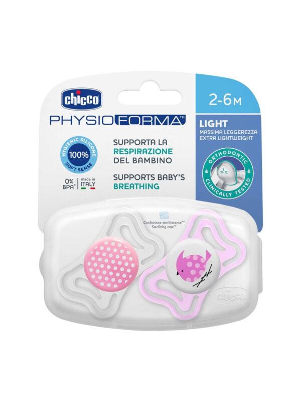 Succhietto Physio Light Girl 2-6 mesi 2 pz  <strong>Colori assortiti</strong> - CHICCO - Ciucci