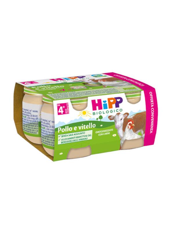Omogeneizzato Pollo e vitello 4x80g - HiPP - Omogeneizzato carne