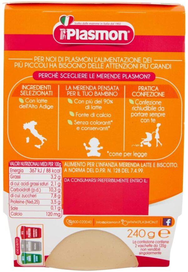 Plasmon - Merenda Latte Biscotto - 2x120g - Plasmon - Yogurt e budini per bambini