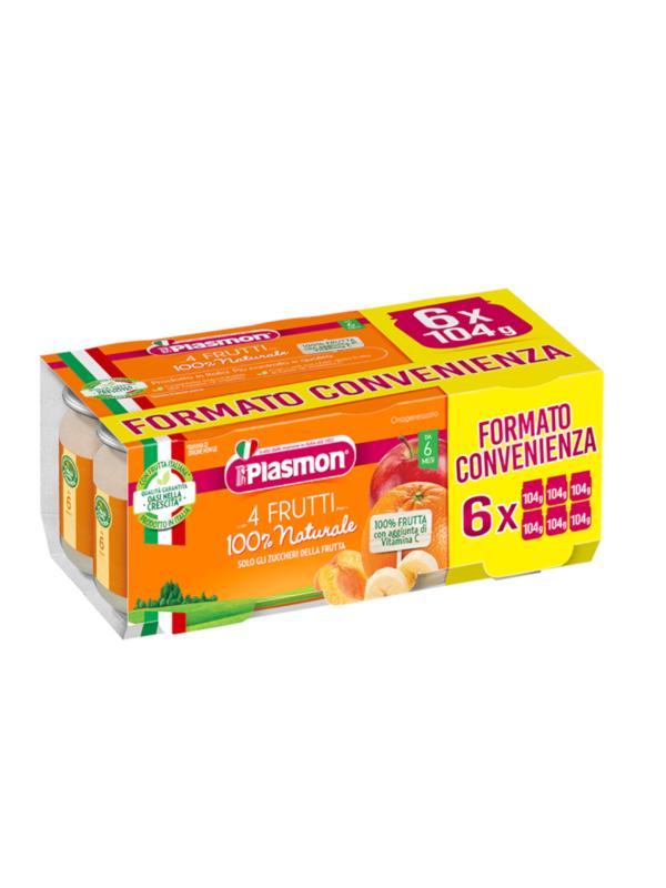 Plasmon - Omogeneizzato 4 Frutti  6x104g - Plasmon - Omogeneizzato frutta