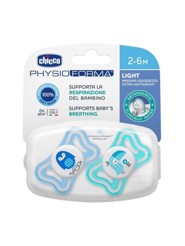 Succhietto Physio Light Boy silicone  2-6 mesi 2 pz <strong>Colori assortiti</strong> - CHICCO - Ciucci