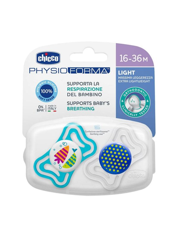 Succhietto Physio Light Boy silicone 16-36 mesi  2pz <strong>Colori assortiti</strong> - CHICCO - Ciucci