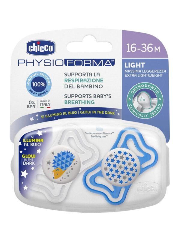 Succhietto Physio Light Lumi silicone 16-36 mesi 2 pz <strong>Colori assortiti</strong> - CHICCO - Ciucci