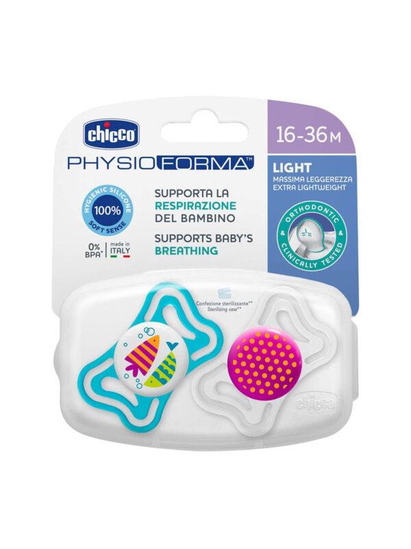 Succhietto Physio Light Girl silicone 16-36 mesi 2 pz <strong>Colori assortiti</strong> - CHICCO - Ciucci