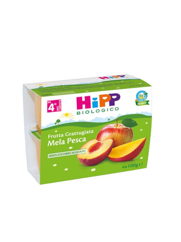 Frutta grattugiata Mela e pesca 4x100g - HiPP - Frutta frullata