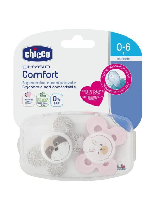 Succhietto Comfort Girl silicone 0-6 mesi 2 pz  <strong>Colori assortiti</strong> - CHICCO - Ciucci