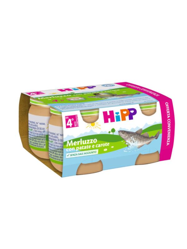 Omogeneizzato Merluzzo con patate e carote 4x80g - HiPP - Omogeneizzato pesce