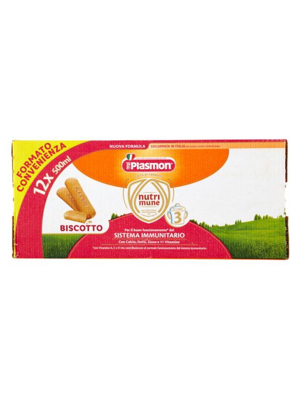 Plasmon Nutri-mune 3 Latte Liquido al Biscotto Stage 3 - 12x500ml - Plasmon - Latte crescita 3-4-5