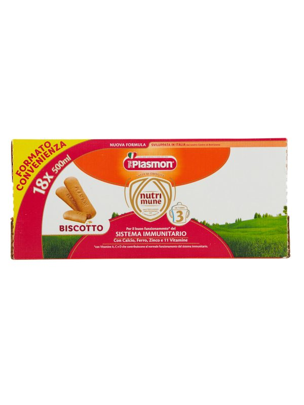 Plasmon Nutri-mune 3 Latte Liquido al Biscotto Stage 3 - 18x500ml - Plasmon - Latte crescita 3-4-5
