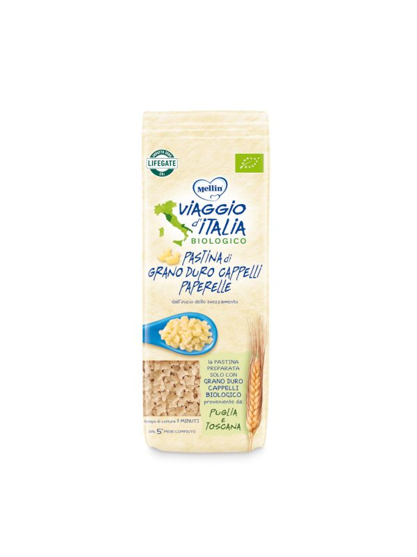 MELLIN - Bio pasta cappelli peperelle 320 gr - MELLIN- VIAGGIO D' ITALIA - Pastine per bambini