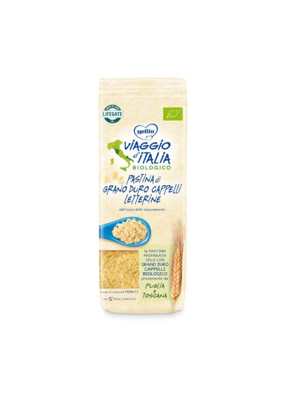 MELLIN - Bio pasta letterine cappelli 320 gr - MELLIN- VIAGGIO D' ITALIA - Pastine per bambini