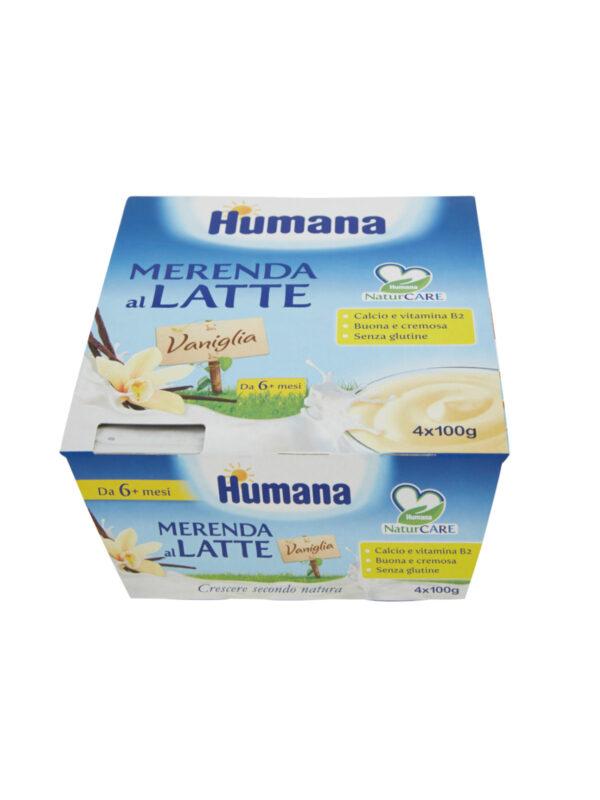 HUMANA Merenda latte vaniglia 4x100 gr - HUMANA - Yogurt e budini per bambini