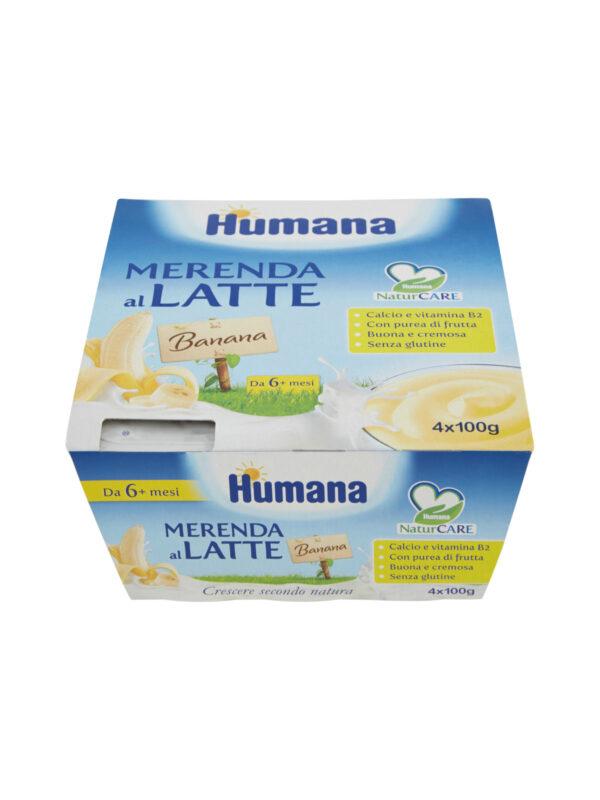 HUMANA Merenda al latte banana 4x100 gr - HUMANA - Yogurt e budini per bambini