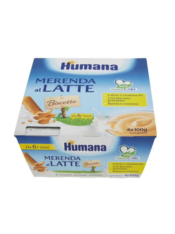HUMANA Merenda al latte biscotto 4x100 gr - HUMANA - Yogurt e budini per bambini