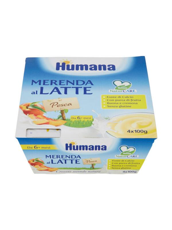 HUMANA Merenda al latte pesca 4x100 gr - HUMANA - Yogurt e budini per bambini