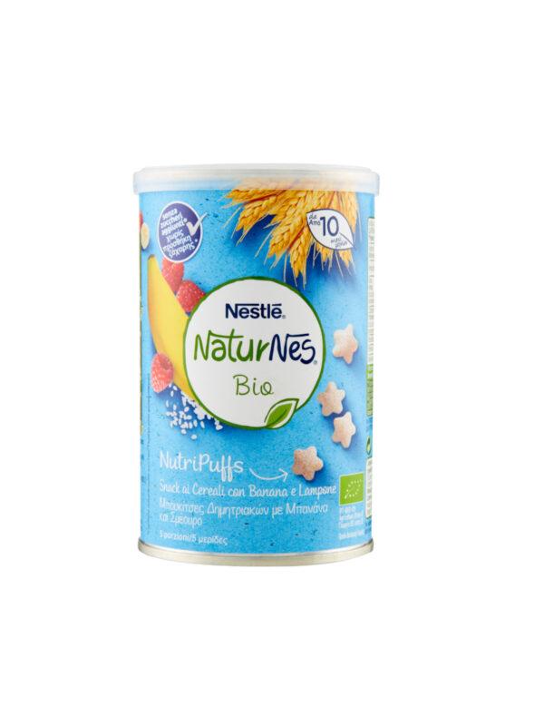 NATURNES - Nutripuffs cereali banana e lampone 35gr - NATURNES BIO - Snack per bambini