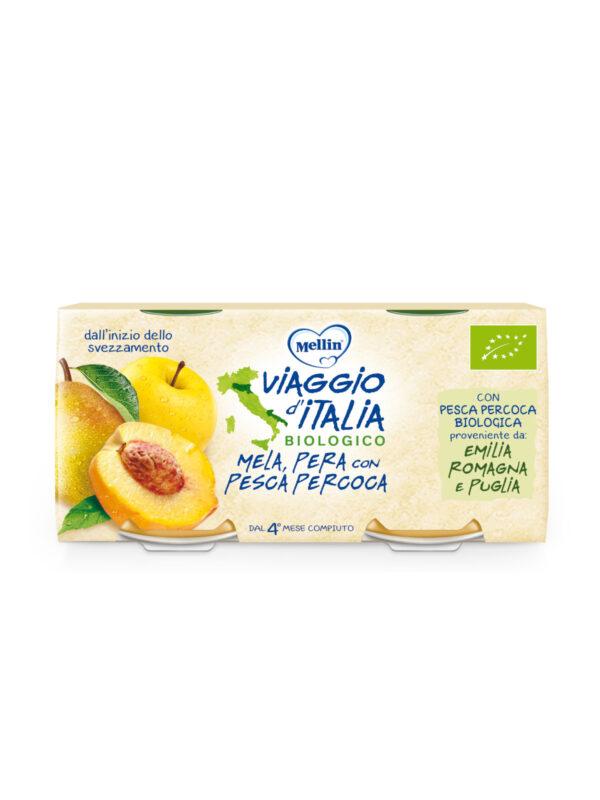 MELLIN - Bio mela pera pesca percoca 2x100 gr - MELLIN- VIAGGIO D' ITALIA - Omogeneizzato frutta