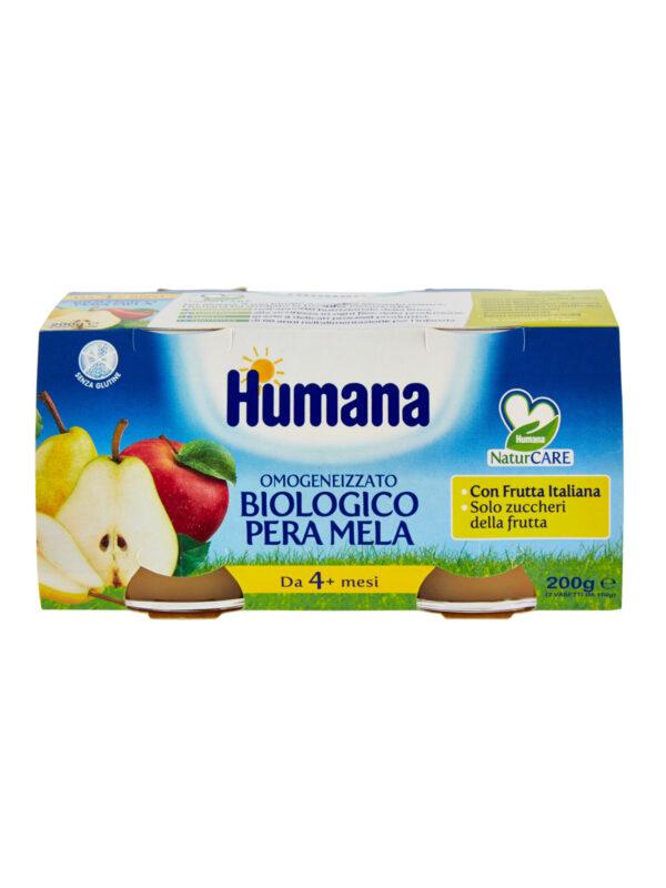 HUMANA omogeneizzato mela pera biologico 2x100 gr - HUMANA - Omogeneizzato frutta