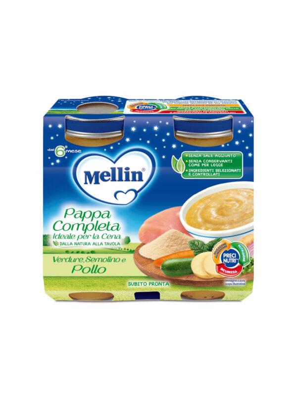 MELLIN Cena completa pollo semolino verdura 2x200 gr - MELLIN - Pappe complete