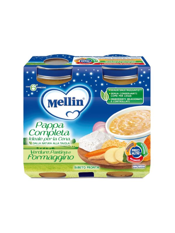 MELLIN Cena completa formaggino pastina verdura 2x200 gr - MELLIN - Pappe complete
