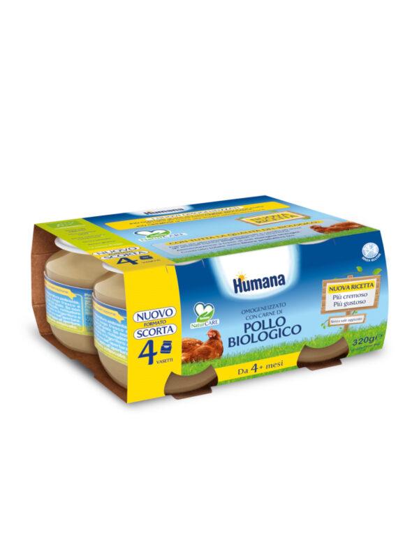 HUMANA omogeneizzato pollo biologico  4x80 gr - HUMANA - Omogeneizzato carne