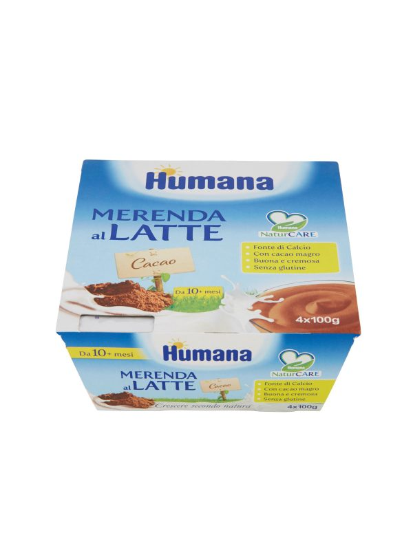 HUMANA Merenda al latte cacao 4x100 gr - HUMANA - Yogurt e budini per bambini