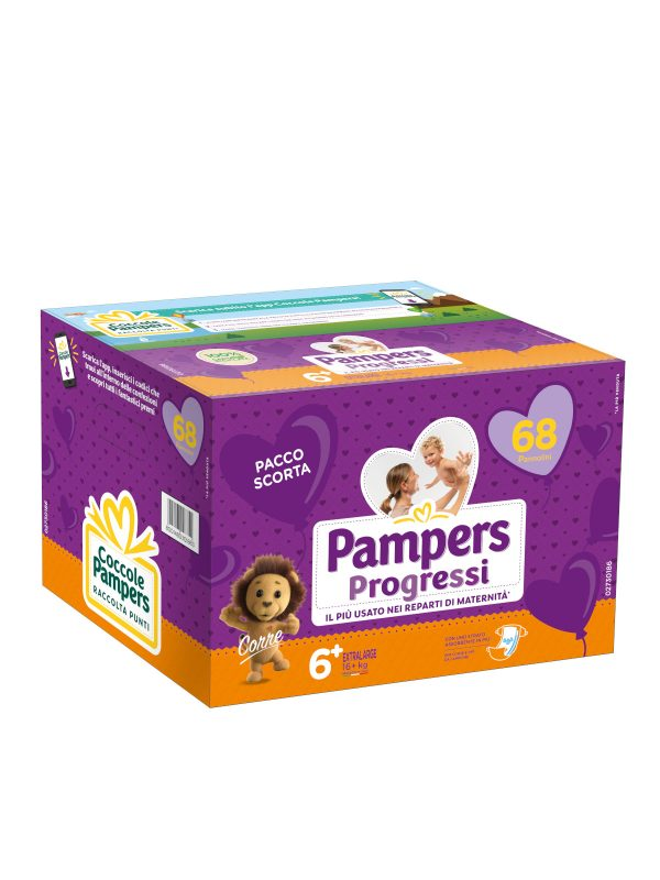 Pampers Quadri Progressi XL Taglia 6 (15+ Kg) - 68 pz - Pampers - Taglia 6 (15-30 Kg)
