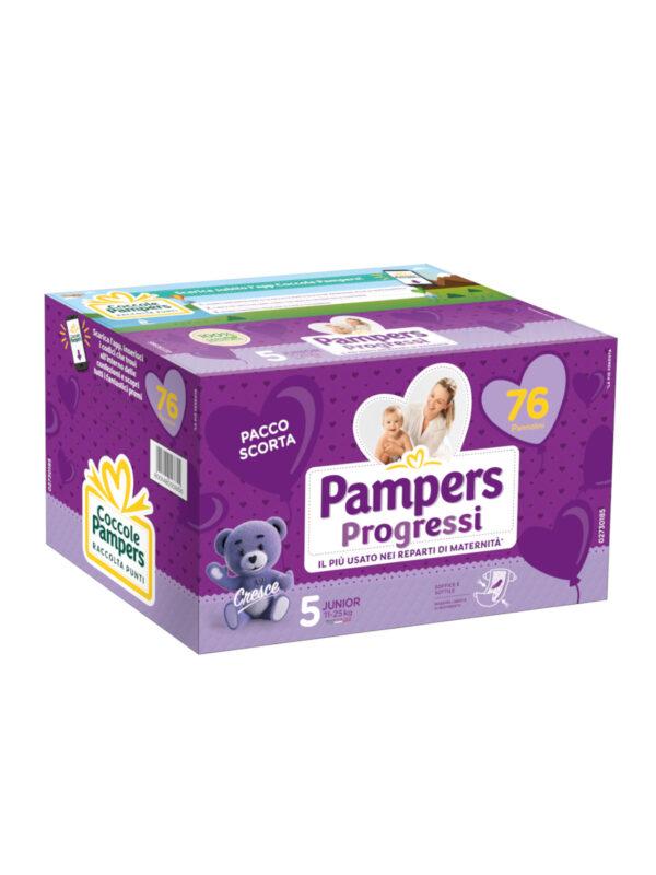 PAMPERS -Quadri Progressi Junior  Taglia 5 (12-18 Kg) - 76 pz - Pampers